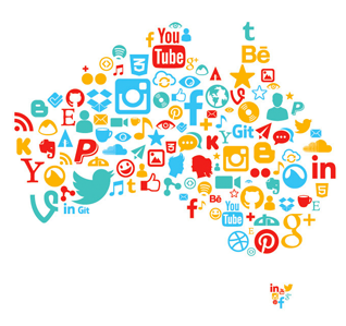 Social Media Icons in the map of Australia